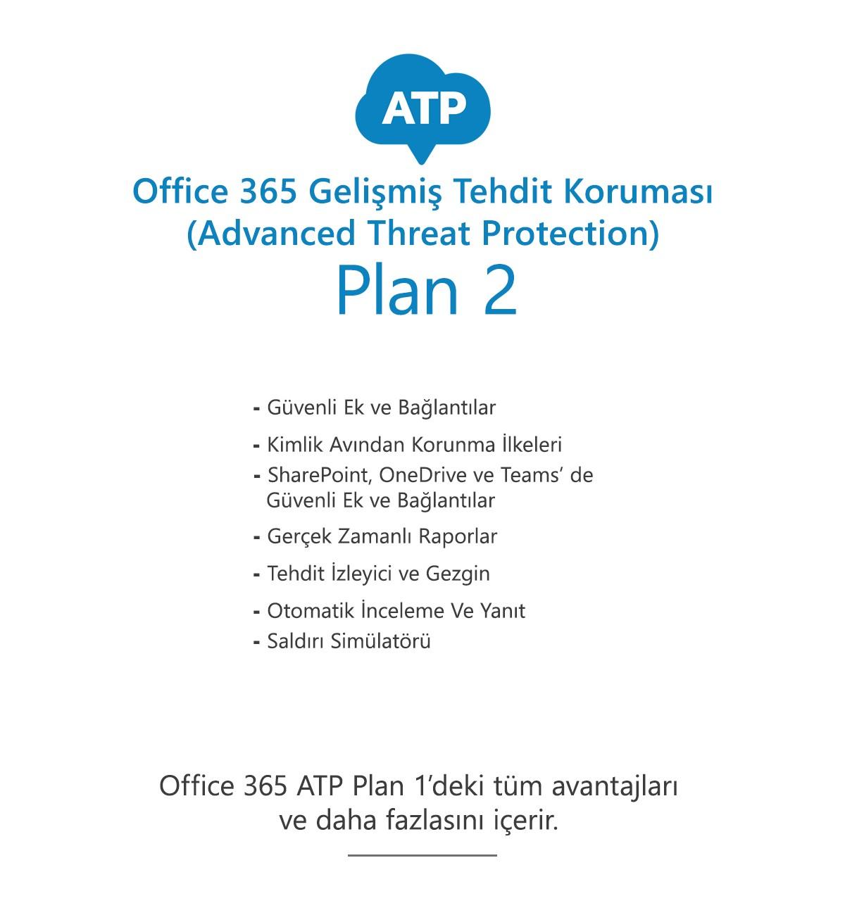 Office 365 Gelişmiş Tehdit Koruması (ATP) Plan 2