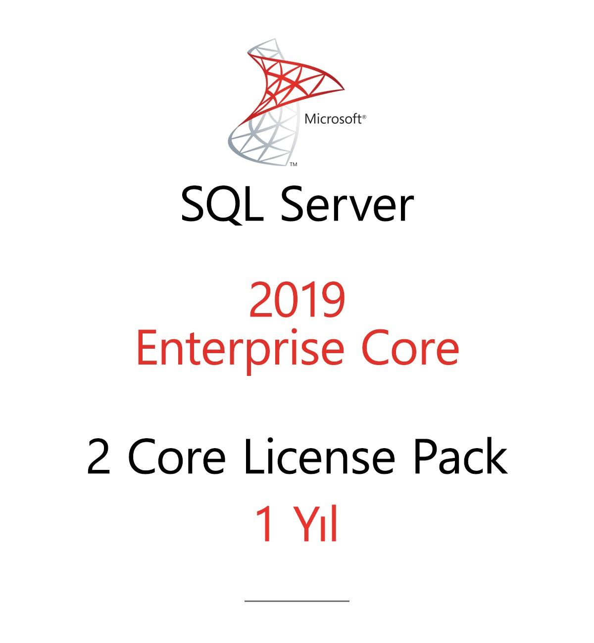 SQL Server Enterprise 2 Core License Pack 1 year
